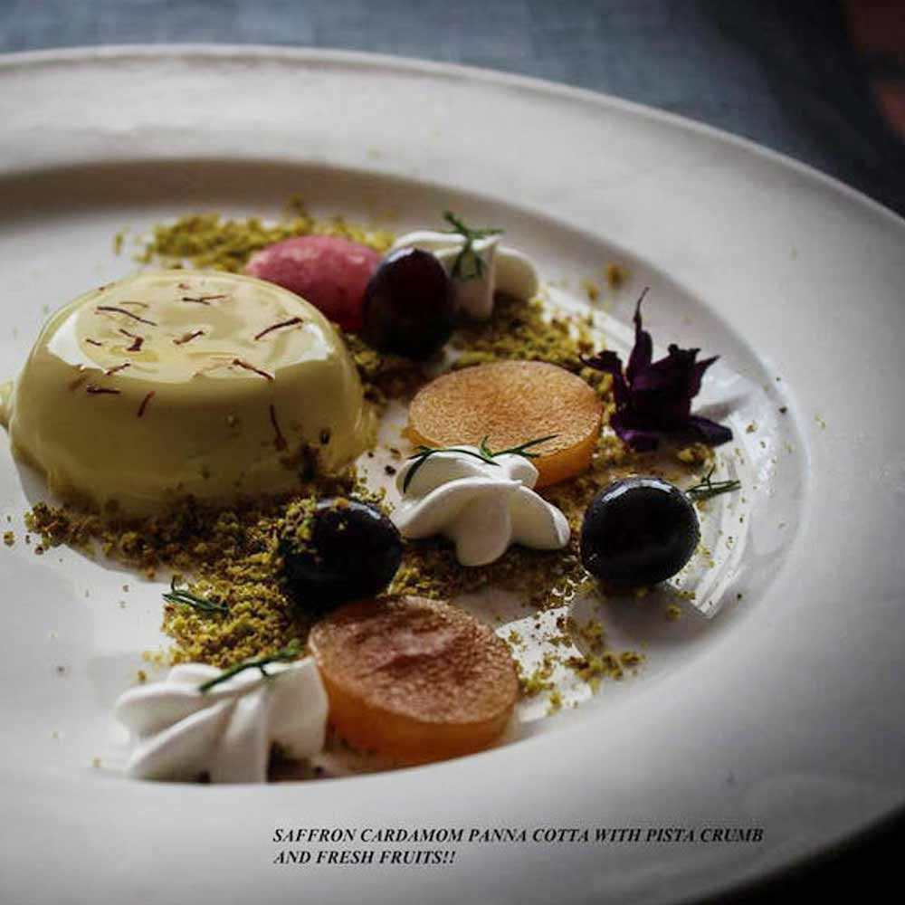 Saffron Cardamom Panna cotta with Pistachio crumb and fresh fruits - by Bency Koshy